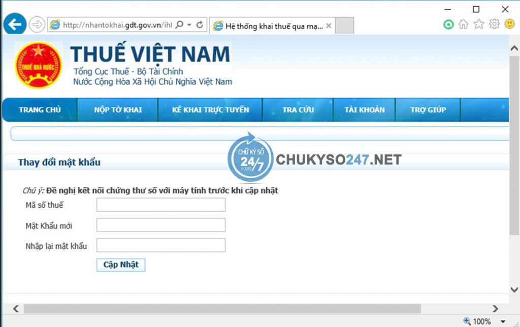 Lấy lại mật khẩu kê khai thuế qua mạng chukyso247.net