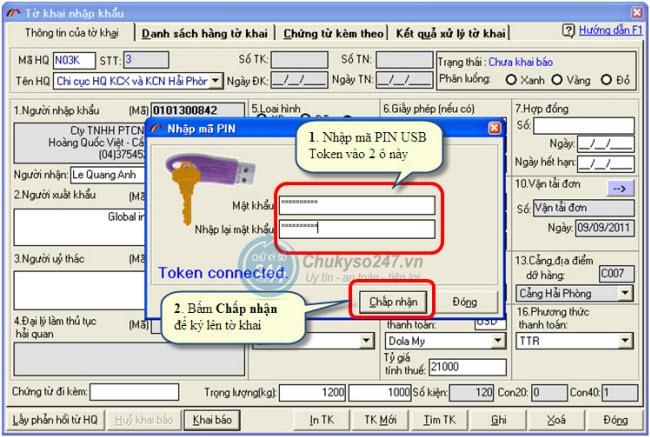 Hải quan điện tử - ECUS Nhập mã pin USB