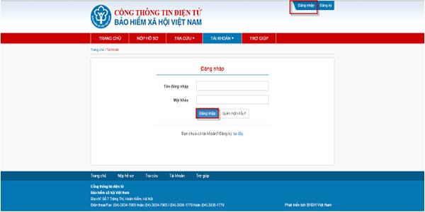 đăng nhập hệ thống BHXH