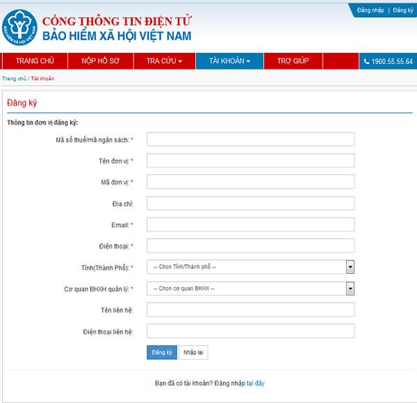 nhập thông tin đăng ký giao dịch điện tử
