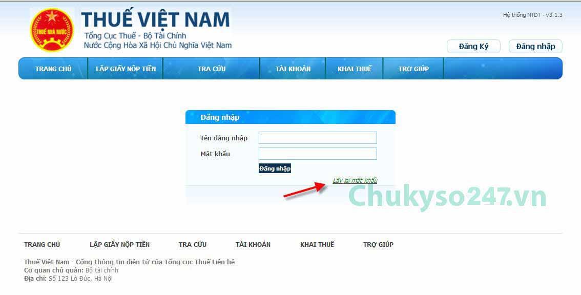hướng dẫn lấy lại mật khẩu trang nộp thuế điện tử (2)